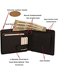 MOOCHIEF Black Men Genuine Leather Wallet (8 Card Slots)