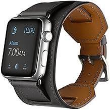 FOTOWELT for Apple Watch Band, Correa de reloj de pulsera correa de cuero muñequera reemplazo de la correa de cierre con el adaptador de Apple Seguir iWatch 42mm - Gris
