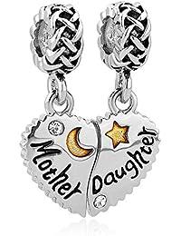 Korliya Mutter/Tochter/Sohn Charm-Herz-Anhänger mit Mond und Stern für europäisches Armband/Bettelarmband