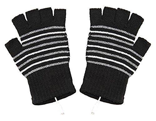Guantes para portátil, USB, guanets de lana, guantes calefactables, color negro