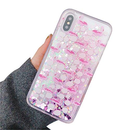 Misstars für iPhone 7 Plus Hülle Glitzer Flüssig, Bling 3D Kreative Liquid Case für iPhone 8 Plus Transparent Hart Plastik Backcover mit Rosa Flamingo Muster Schutzhülle Anti-Rutsch Kratzfest für Apple iPhone 7 Plus / 8 Plus (5,5 Zoll)