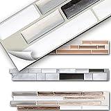 5er Set 3D Mosaik Fliesenaufkleber selbstklebend Küche Bad Fliesendekor I 27 x 4,7 cm schwarz metallic weiß silber I Design 3 Grandora W5529