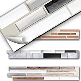 Grandora 5er Set 27 x 4,7 cm Fliesenaufkleber schwarz metallic weiß Silber Design 3 I 3D Mosaik Küche Bad Fliesendekor Wandaufkleber Fliesensticker W5529