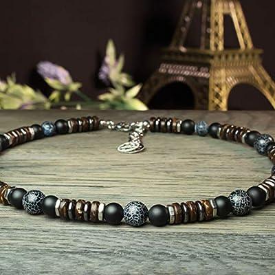 Sublime Collier Homme perles Ø8-10mm pierre Naturelle Agate Onyx Toile d'araignée bois coco hématite métal inoxydable couleur argent COLLITRAP