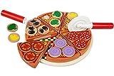 Kinder Holz Pizza Scheiben & Toppings Essen Spielzeug Set Pretend Küche spielen