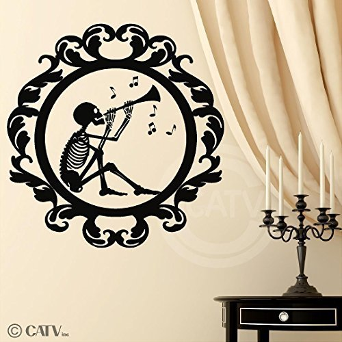 Halloween vinyl decal Frame #16 Skeleton Playing Music portrait vinyl lettering decal home decor wall art sticker (Large 21x22) by Wall Sayings Vinyl Lettering