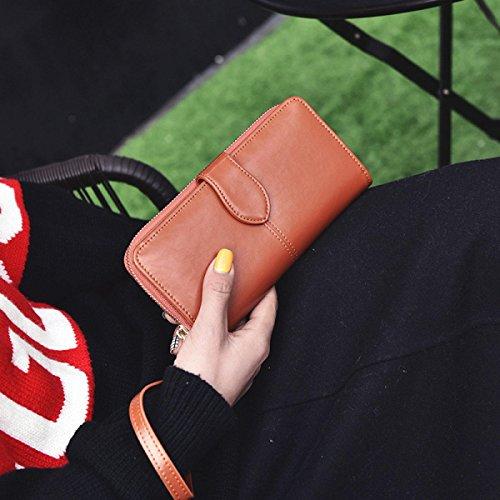 Nuovi Pelle Signore Portafoglio Sezione Lunga Versione Coreana Posizione Femminile Multi-card Portafoglio Yellow