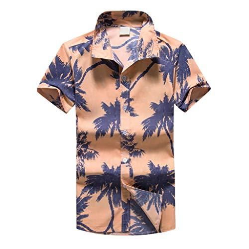 MAYOGO Oversize Hawaii Hemd Männer Kurzarm Lose Feiertags Lässige Hawaiian Shirt for Men,Übergroße Herren Hawaiihemd Kostüm Oberteile Tops Palmen Beach Print