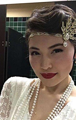 Babeyond® Flapper Great Gatsby Inspiriert Art Deco 1920 Blattmedaillon Perle Kopfschmuck Kopfband runden Goldene - 5