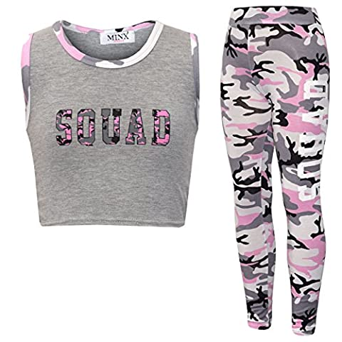 NEW GIRL'S BROOKLYN 85 NEW YORK SQUAD NYC CROP TOP LEGGINGS 2 PIECE SET AGE 7-13 YEARS (11-12 Years, Squad Pink