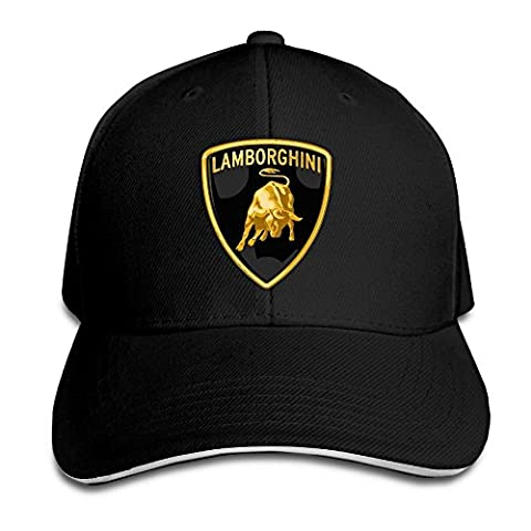 Yhsuk Lamborghini Logo Sandwich Peaked Hat/Cap Black