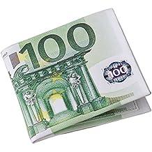 Uomo Portafoglio degli personalità 500/100 Euro fattura tasche del cuoio della carta Bifold Chic Pelle PU breve Portafogli Regalo (100 EUR)