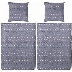 WOMETO 4-TLG Bettwäsche Biber 135x200 Sterne - blau-grau OekoTex Baumwolle