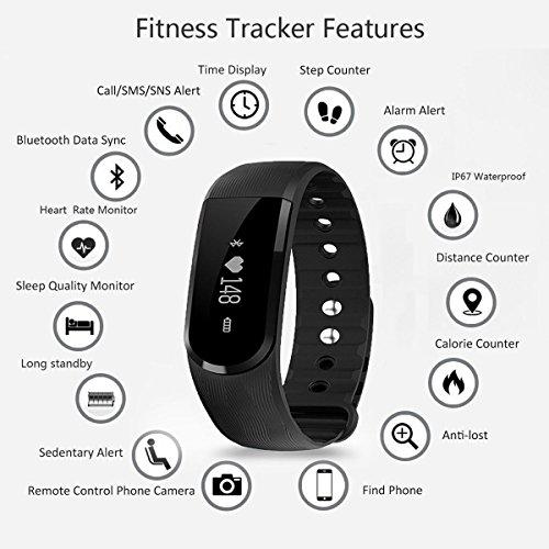 Herzfrequenz Fitness Tracker,CAMTOA ID101 Fitness Armband Pulsuhr Aktivitätstracker Wasserdicht IP67 – Schrittzähler,SMS Anrufe,Kalorienverbrauch,Kamera-Fernbedienung,ID Benachrichtigung,Musiksteuerung und Handy-Suchfunktion(USB Anschluss direkt laden) Schwarz - 2