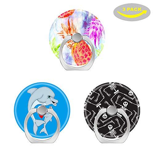 OXone Pop Handy Finger Ring-Halterung Ständer Sockel mit Drei Auto Mount-Dolphin Love-Funny Halloween Skelette Skull-Green Farn Blätter Ananas Watercolor