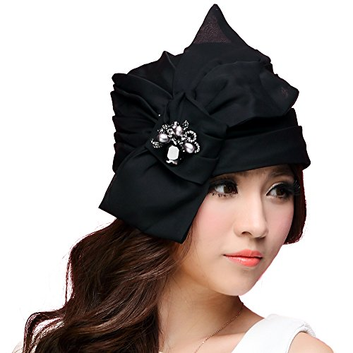 a16cade8c40 June s young Women Turban Hat Bow Summer Hat Organza Bonnet Chepeau Outing  Travel Hat Black