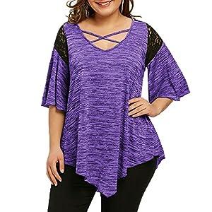 Plus Size Kurzarm Oberteile V-Neck Damen,Aufflackernhülse Asymmetrische Tunika Spitze T-Shirt Bluse große größen Damen Damenmode Oberteile 52/54/56 Party Prime Skull