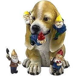 par Mark et Margot-Chat Malicieux Nain de Jardin Statue-Figurine Art Décor pour intérieur ou extérieur Maison ou Bureau Mischievous Dog