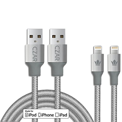 czar-high-durability-apple-mfi-certified-lightning-cable-1-yr-manufacturer-warranty-6x-stronger-silicon-nylon-dual-layer-protection-cable-for-iphone-x-iphone-8-plus-iphone-8-iphone-7-iphone-7-plus-iphone-6s-plus-iphone-6-plus-iphone-6s-iphone-6-iphone-se-iphone-5s-iphone-5-iphone-5c-ipad-pro-ipad-4th-gen-ipad-air-2-ipad-air-ipad-mini-4-ipad-mini-3-ipad-mini-2-and-ipad-mini-and-ipod-super-fast-charging-upto-24amps-gray-pack-of-2