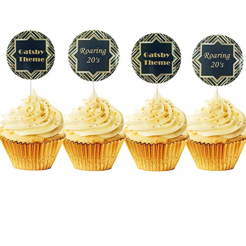 JeVenis 20er Set Great Gatsby Art Deco Cupcake Topper Art Deco Cupcake Topper 1920 Cupcake Topper 20er Cupcake Topper für Gatsby Motto Party Geburtstag Party Dekoration Supplies