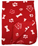 30x21 Inch Dog / Cat Fleece Blanket - Bone and Paw Print Assorted Color Pet Blankets by bogo Brands (Red)
