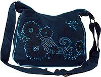 GURU-SHOP Bolsa de Hombro, Hippie Bag, Goa Bag - Gasolina/turquesa, Unisex - Adultos, Azul, Algodón, Tamaño:One Size, 23x28x12 cm, Bolsas de Hombro