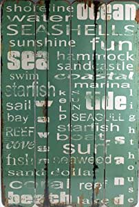 XL Shabby Chic Nautical Theme Word Wall Picture Plaque - Distressed Blue