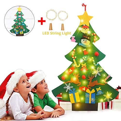 Ofun feltro albero natale, albero di natale, bambini regali di natale con 26 pezzi decorazioni & 2 luce bottiglia per la decorazione della parete di natale (verde1)