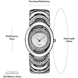 CRRJU Women Bracelet Wrist Lady Quartz Wrist Watch with Rhinestones 3ATM Daily Water Resistant Dress Watch Elegant Bracelet Watch Wristwatch Gold/Gold+White/Rose gold/Silver