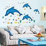 Sulida Wandaufkleber Delphin Kinder Kindergarten Vergnügungspark Wanddekoration Landschaftsbau Wandbild Aufkleber