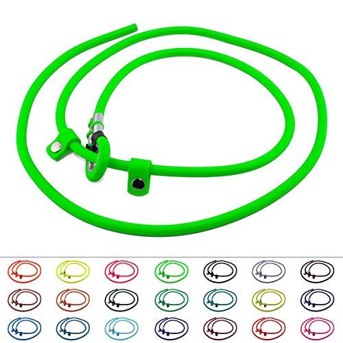 LENNIE BioThane Retrieverleine, rund, Ø 6mm, 1,75m lang, ohne Handschlaufe, Neon-Grün, Moxonleine