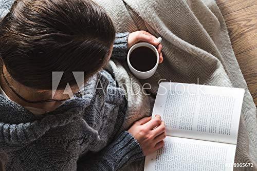 Wunschmotiv: Woman Wearing Woolly Gray Cardigan Drinks Tea and Reads Book Under Cozy Blanket #188965672 - Bild hinter Acrylglas - 3:2-60 x 40 cm / 40 x 60 cm (Womens Cozy Cardigan)