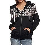 Linlink Mujeres otoño Invierno con Estampado de Leopardo de impresión Chaqueta Sudadera con Capucha suéter Abrigo con Capucha Sudaderas