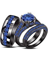 Silvernshine 4.50 Ct Round Cut Sapphire 3 Piece Trio Engagement Ring Set 14k Black Gold Fn