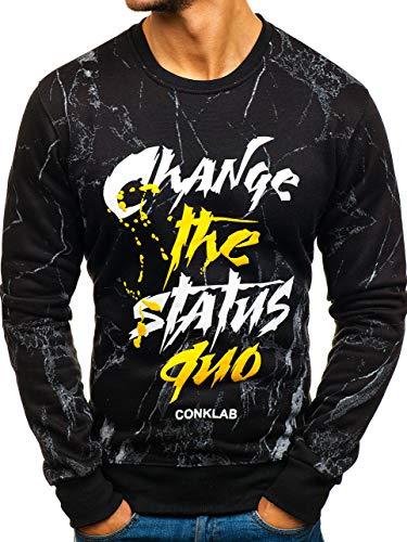 BOLF Herren Sweatshirt Pullover Rundhals Motiv Aufdruck Street Style J.Style DD378 Schwarz M [1A1] | 05902646931845