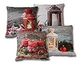LED Leuchtkissen Kissen Dekokissen Weihnachtskissen Weihnachten Winter 40x40cm verschiedene Motive (4er Set)