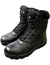 Black All Leather Cadet Army Combat Patrol Boots Tactical Military Security Police