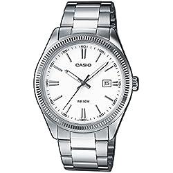 Casio - 1302D 7A1 MTP-Classic-Men's Watch Analogue Quartz White Dial Steel Strap Grey