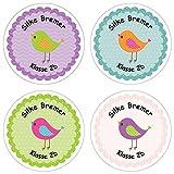 Papierdrachen 24 individuelle Aufkleber für Kinder - Motiv Vögelchen - personalisierte Sticker - Schule Einschulung