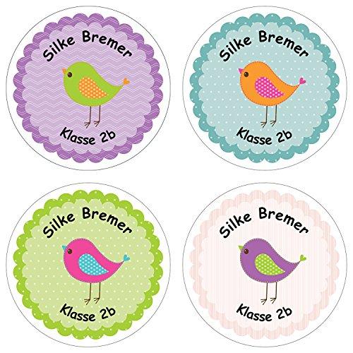 24 individuelle Namensetiketten für Kinder - Schule Einschulung - Motiv Vögelchen
