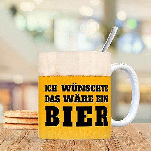 Kaffeebecher mit Bier Motiv und Spruch: Ich wünschte das wäre ein Bier - eine coole Tasse von trendaffe - weitere passende Begriffe dazu: Trinken, Rausch, Alkohol, Gerstensaft, Biergarten