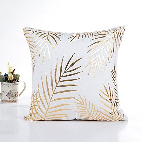 Kissenbezug 45 x 45 cm Gold folie Druck kissenhülle Sofa Taille Wurf Kopfkissenbezug Pillow Cover LuckyGirls (D) - Gold Kissenbezüge