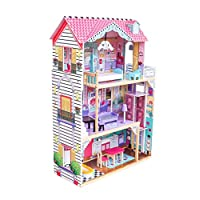 SUPER TOYS Chelsea Wooden Dollhouse | 3 levels Cottage with Furniture For Kids Playing Toys Accessory | Long-Lasting Gift for your kid
