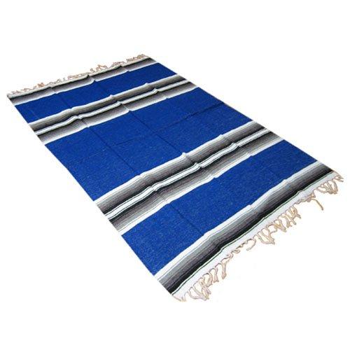 """Couverture mexicaine pour yoga """"Otomi"""", env. 1,37 x 2,03 m, bleu royal"""
