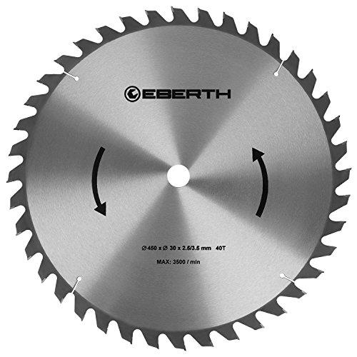 EBERTH Hartmetall-Kreissägeblatt für Holzschnitte (450 x 3,5 x 30 mm, 40 Zähne, lange Lebensdauer)