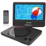 WONNIE 9.5' Lecteur DVD Portable avec écran Rotatif de 7,5' à 270°, Carte SD et Prise USB avec Charge directe Formats/RMVB/AVI / MP3 / JPEG, Parfait pour Enfants (Rouge)