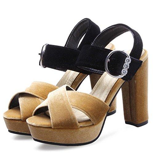 TAOFFEN Femmes Mode Peep Toe Sandales Bloc Talons Hauts Plateforme Soiree Ete Chaussures Jaune
