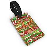 Christmas Candy Cane PVC Luggage Tags Travel ID Labels Tag with Wristband