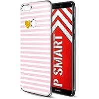 Funda Huawei P Smart, Eouine Cárcasa Ultra Slim Silicona 3d Transparente con Dibujos Impresión Patrón Suave TPU Bumper Case Cover Fundas para Movil Huawei P Smart (Raya Rosa)