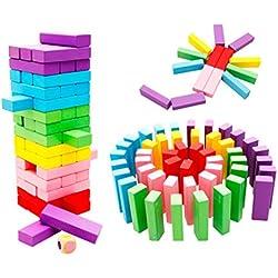 48pcs Juguetes Juegos Bloques Construcción Torres Apilables Imponentes Multicolores Madera Niños